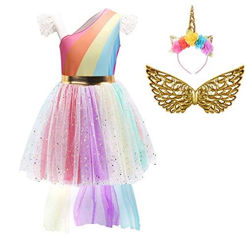FONLAM Girls Unicorn Dress Costume Birthday Party Princess Dress for Girls Kids Halloween 5-6 Years