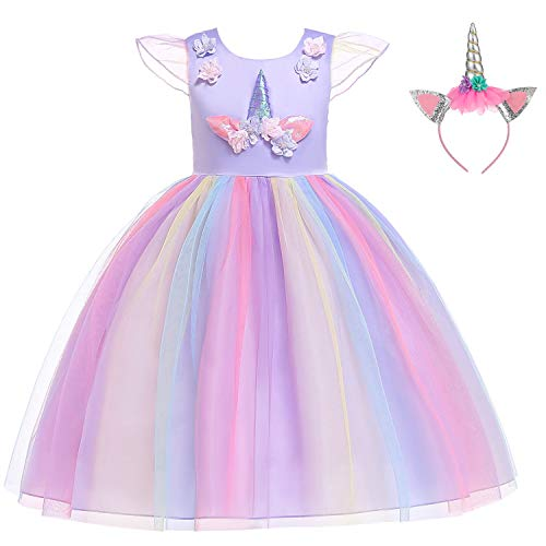 Flower Girls Unicorn Costume Pageant Princess Party Dress with Headband for Girls 8-9 YearsD0056-P150cm