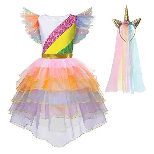 Rainbow Unicorn Tutu Costume Princess Dress Up with Headband Wings