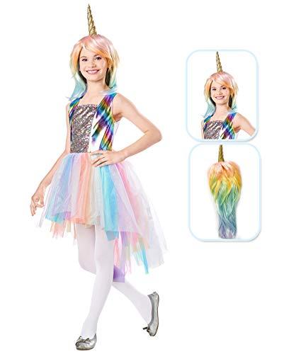 Seasons Direct Halloween Girls Pastel Rainbow Unicorn Costume with Wig 9-10
