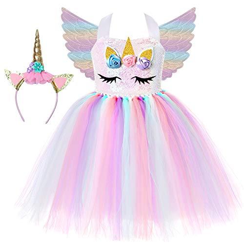 Soyoekbt Girls Unicorn Costumes Toddler Unicorn Dress Up for Birthday Patty Sequin C M