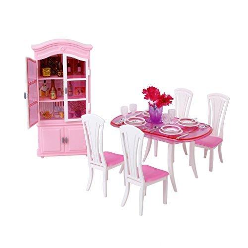 No brand goods Dollhouse plastic furniture dining room set Barbie doll set