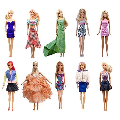 20-piece Barbie Dresses  Clothes 10 Handmade Barbie Dresses 10 shoes for barbie Doll Set of 20