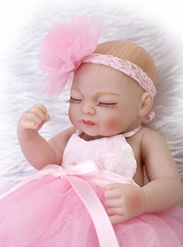 10 Full Body Silicone Lifelike Mini Girl Baby Doll Bath Toy for Kids Gifts Pink Dress