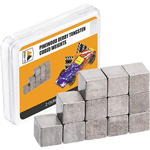 BBTO Pinewood Derby Weights 12 Pieces Tungsten Weights 14 Inch Incremental Cubed Car Cube Weights 2 Ounce
