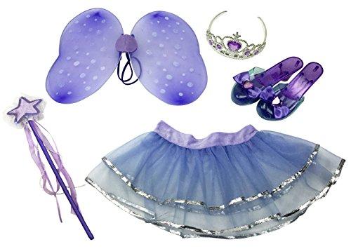 Little Fairy Princess Dress Up Role Play Costume Set for Girls 6 Pcs