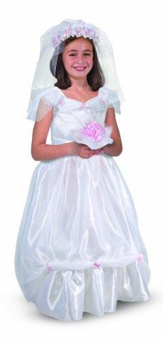 Melissa Doug Bride Role Play Costume Set 3 pcs - Gown Veil Bouquet