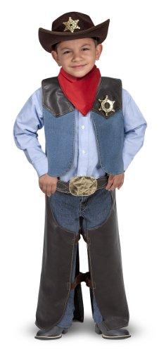 Melissa Doug Cowboy Role Play Costume Set 5 pcs - Includes Faux Leather Chaps