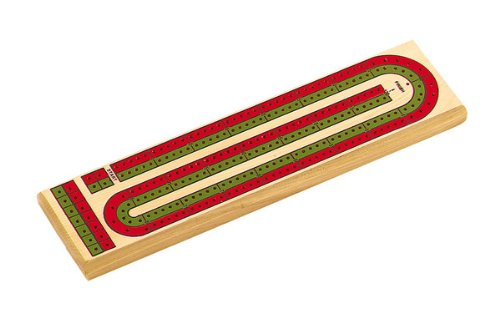 2 Color Track Wooden Cribbage Board with Pegs Storage Compartment