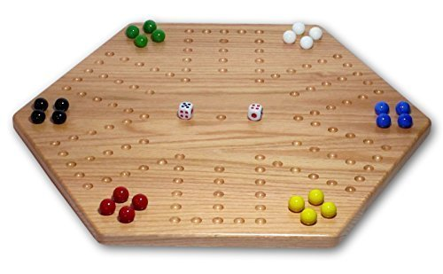 Solid Oak Double-sided 20 Aggravation Wahoo Board Game Set