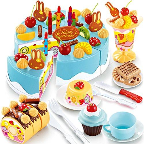 Kids Play Food Set Yamix 75Pcs Plastic Kitchen Cutting Toy Pretend Play Food Assortment Toy Set Birthday Cake for Kids Girls - Blue