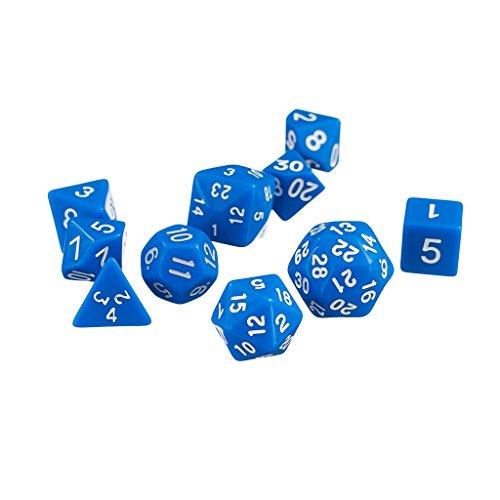 Blue Dice 10pcs Dice Set Multi-Sided Dice D4-D30 RPG D&D NEW Playing Dice