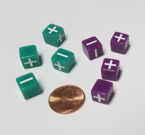 10mm Green Purple Fate Fudge Dice  8 Very Small Dice