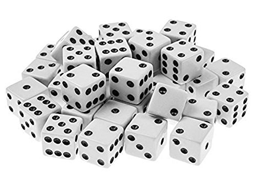Qingsun 100Pack White Dice - 8mm with Black Pips Dots for Board Games Activity Casino Theme Party Favors Toy Gifts