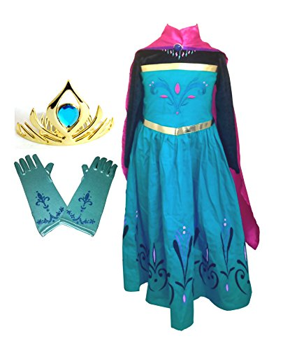 American vogue Elsa Coronation Dress Costume  Cape  Gloves  Tiara Crown 7 Years Blue