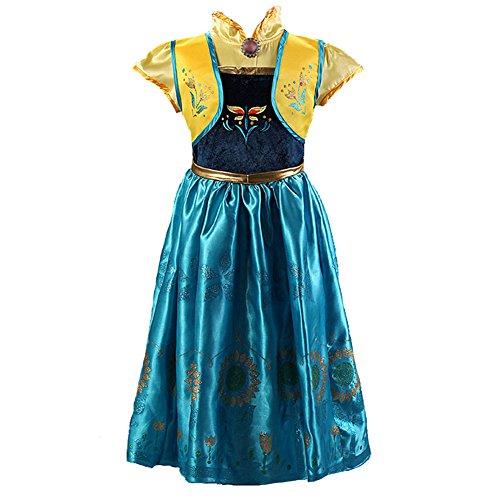 ZD Girls Princess Dress Anna Traveling Classic Costume Dresses Size 110US 2T