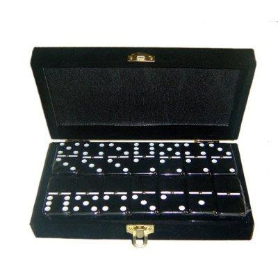 Domino Double 6 Black Jumbo Tournament Professional Size wSpinners in Elegant Black Velvet Box