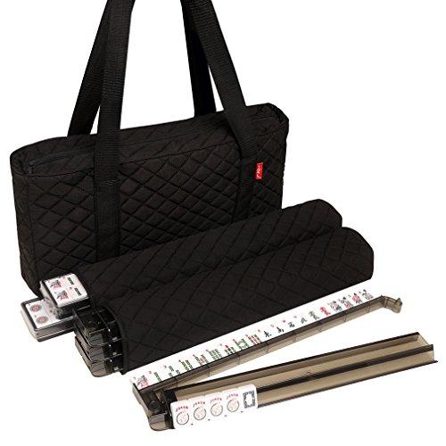 American-Wholesaler Linda Li 166 White Tiles American Mahjong Set with 4 All-In-One Black Soft Bag