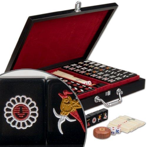 Chinese Mahjong Mahjongg Mah Jongg Mah-Jongg Majiang Travel Game Set with Jet Black Tiles- Jet Set - Small