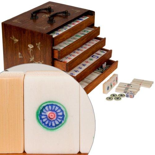 Chinese Mahjong Mahjongg Mah-Jongg Game Set w Tiles Accessories and 5 Drawer Rosewood Box