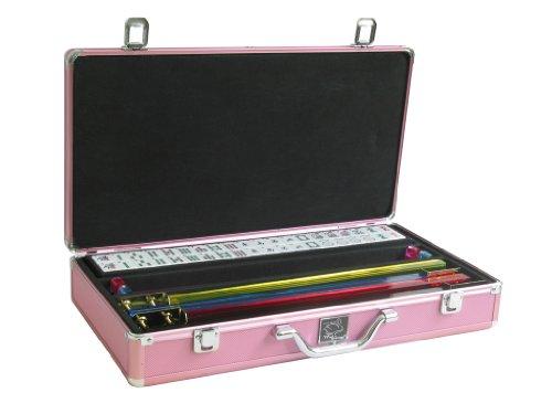 White Swan Mah Jongg TM - Mahjong Game Set White Tiles Pusher Arms Aluminum Case Pink