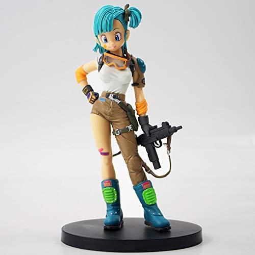 Dragon Ball Bulma with Gun Weapon Anime Action Figure  DBZ PVC Figures Toys Type A Size 8 inch
