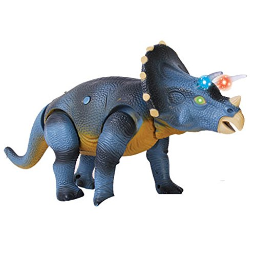 Jurassic Remote Control Triceratops Dinosaur Toy Figure with Eyes Lights Loud Roar Sounds Real Movement D