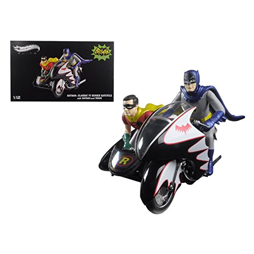 1966 Batcycle Elite Edition and Side Car with Batman and Robin Figures 112 Diecast Model by Hotwheels