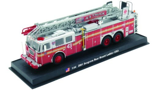Seagrave Rear Mount Ladder Fire Truck Diecast 164 Model Amercom Collection
