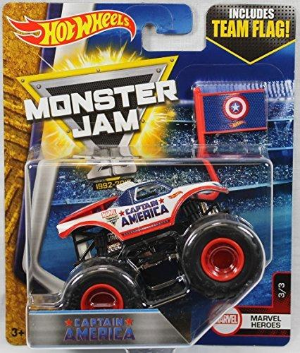 Hot Wheels 2017 Monster Jam 164 Scale Truck with Team Flag - Captain America