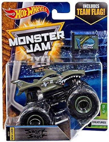 Hot Wheels Monster Jam Truck Shark Shock 2017 New Look - Team Flag Series Creatures 610