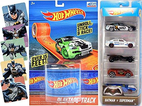 Hot Wheels Batman Vs Superman VS Wonder Woman Track Tape Play set - Batmobile DC City 5-Pack 2016  Batman Super Hero Comic Sticker Set