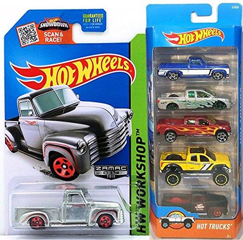 Hot Wheels Hot Trucks 4 x 4 5-Pack Set Zamac 52 Chevy Exclusive pickup - 83 Silverado  Nissan Titan  2009 Ford F-150  10 Toyota Tundra  49 Ford F1