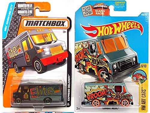 VANS 2016 Hot Wheels Matchbox Express Delivery Big Van Set Adventure City  Combat Medic Art Cars in PROTECTIVE CASES by Matchbox