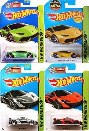Lamborghini McLaren 2015 SET of Hot Wheels 4 cars HW Workshop Garage 2015 222  223 IN PROTECTIVE CASES new castings