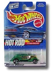 2000 - Mattel - Hot Wheels - Hot Rod Magazine - 4 of 4 Cars - 33 Ford Roadster - Green Metallic  OLucky Flame Tampo - Razor Wheels - Malaysia Base - Out of Production - New - Mint - Collectible