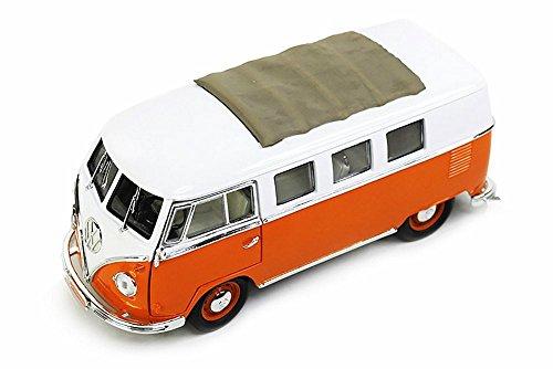 1962 Volkswagen Microbus with Fabric Sliding Sunroof Orange - Road Signature 92327 - 118 Scale Diecast Model Toy Car