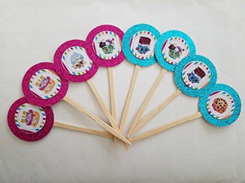 8 Shopkins Pink Aqua Cupcake Toppers Picks Birthday Party seasons 1 2 3 4 5 Shoppies