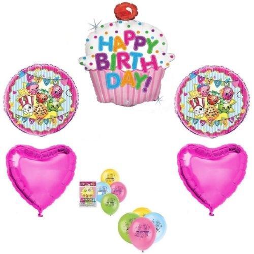 Team SHOPKINS Cupcake Hearts 13 Happy Birthday PARTY Mylar Latex Balloons Set D