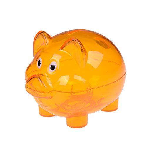 Sizilian Lovely Cartoon Pig Coin Bank Money Box Piggy Bank Saving Pot Xmas Birthday Transparent Plastic Piggy Bank Coin Money Box Kids Gift Orange