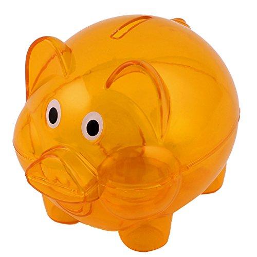 uxcell Plastic Piggy Bank Coin Money Cash Saver Savings Safe Box Clear Orange