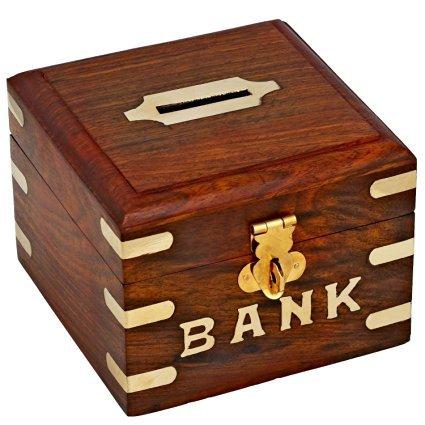 DEVARSH INTERNATIONAL ROSE Wood Money Storage Bank Coins Storage Box with Lock Money Bank Inlay on it