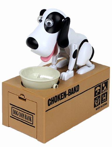 Hungry Hound Coin Bank Robot Dog Save Money Coin Eating Dog Box Funny Gift White spot Choken Bako Robotic Dog Coin Bank-2AA