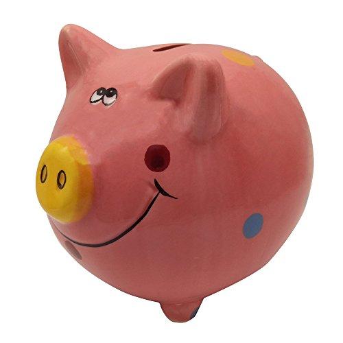 Child Cute Ceramic Polka Dot Pig Piggy Bank Toy Bank Pink