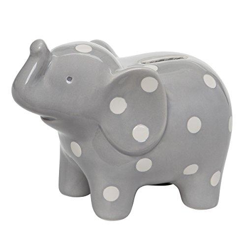 Elegant Baby Ceramic Elephant Bank with White Polka Dots Gray