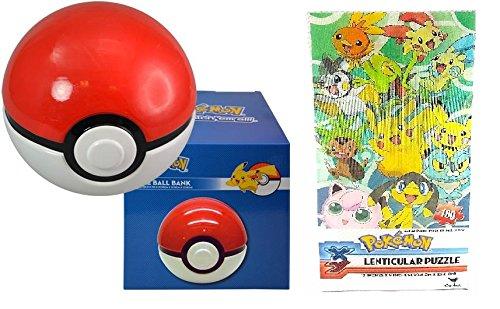 Pokemon Pokeball Ceramic Bank in Color Box Plus Puzzles Set