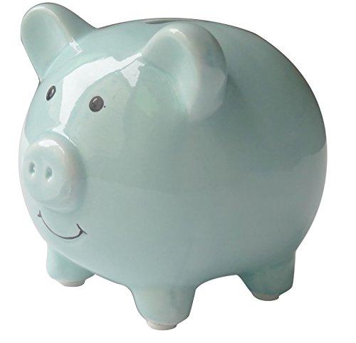 Shapenty Small Cute Ceramic Piggy Coin Bank for Kids Blue