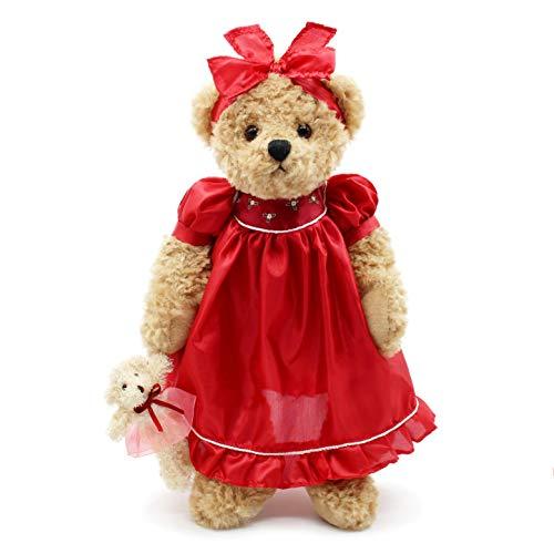 Oitscute Teddy Bears Baby Cute Soft Plush Stuffed Animal Toy for Girl Women 16 Brown Bear Wearing red Sleepwear