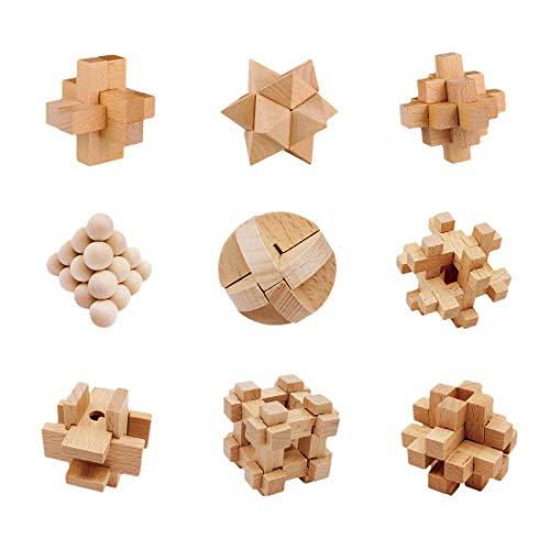 Petforu 9-Pack Brain Teaser Puzzles Kong Ming Luban Lock Set Challenging Gift for Kids Adults