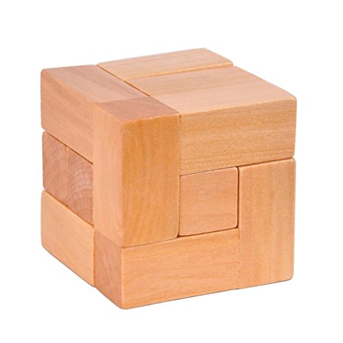 hwangli Wooden 7 Block Cube Luban Lock Brain Teaser Adults Kids Puzzle Educational Toy